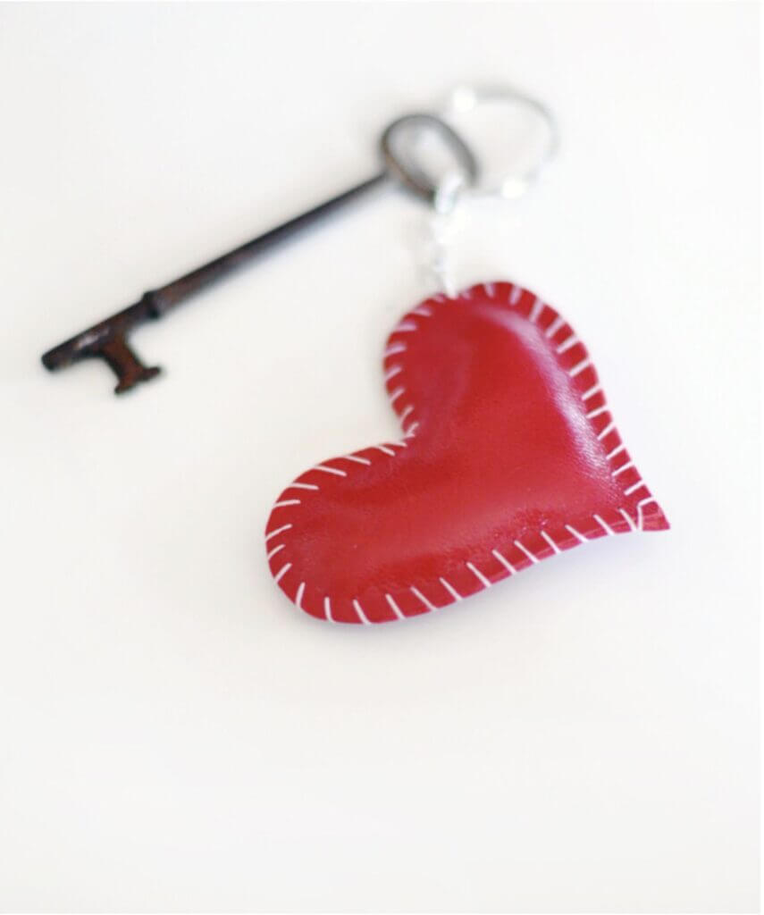 leather heart and key