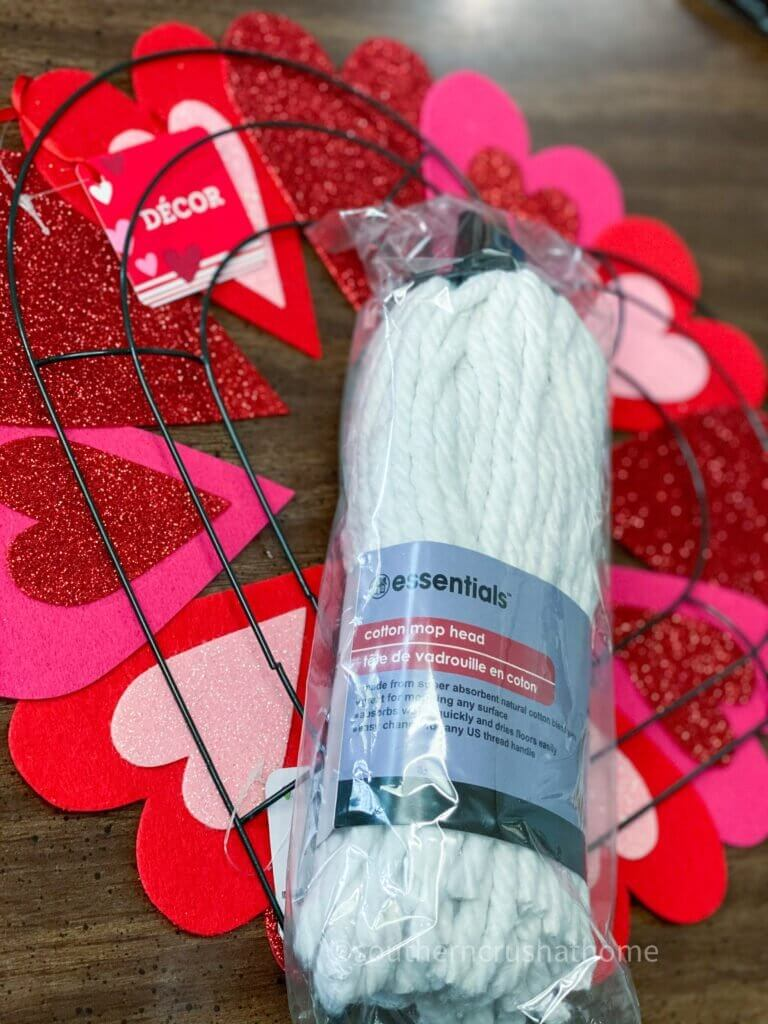 supplies for mop head valentines wreath diy