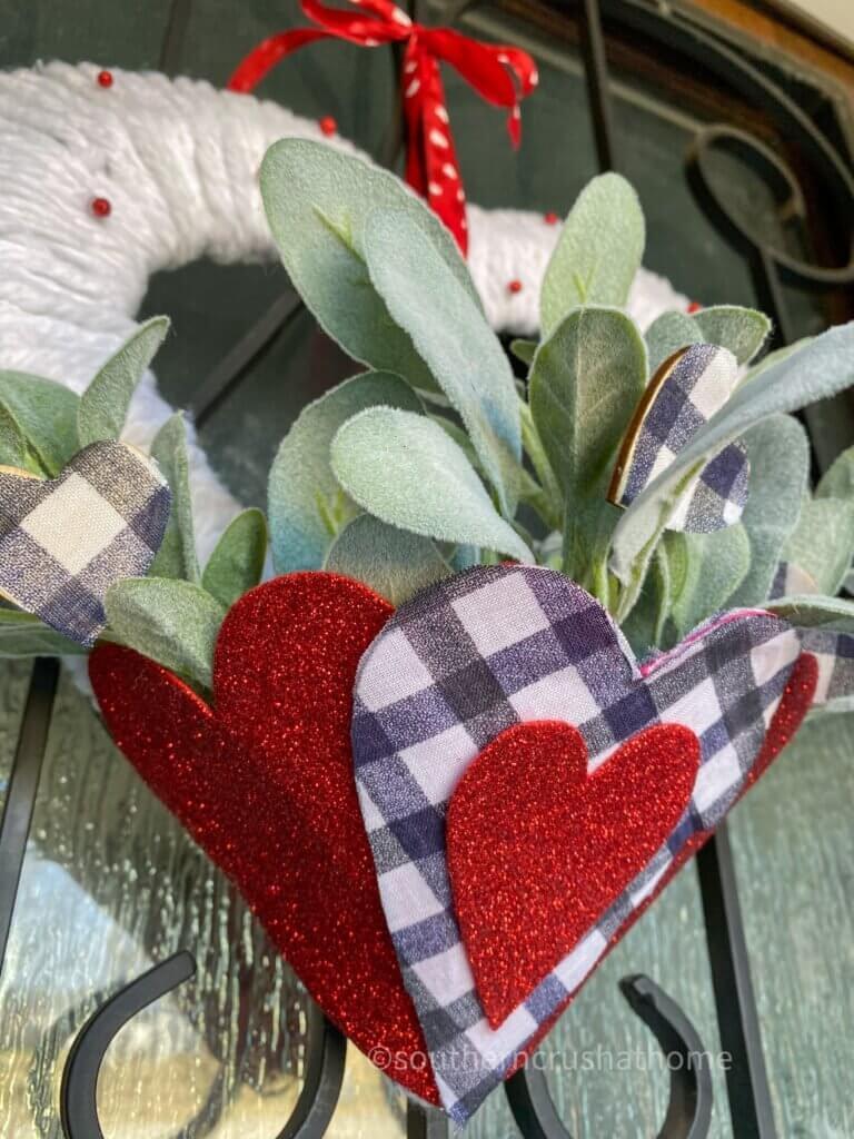 closeup of final valentines heart wreath diy hanging