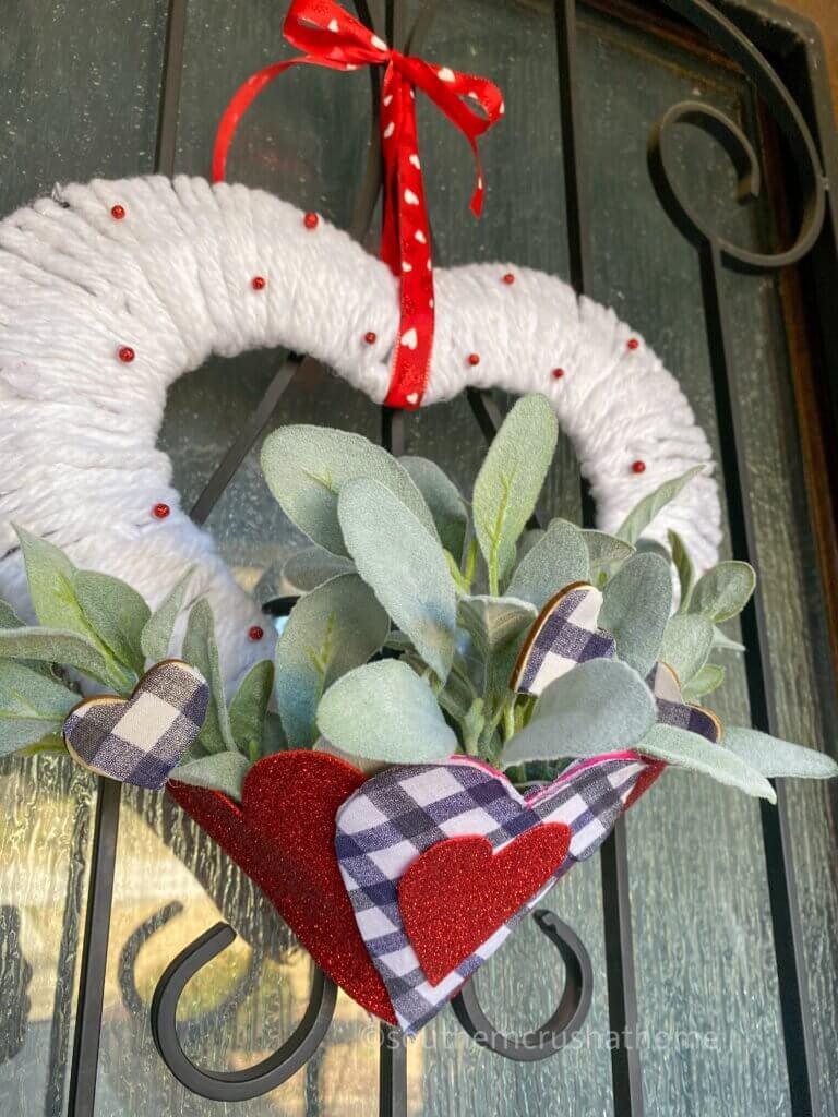 final styled valentines wreath diy on front door