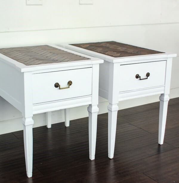set of two painted tables