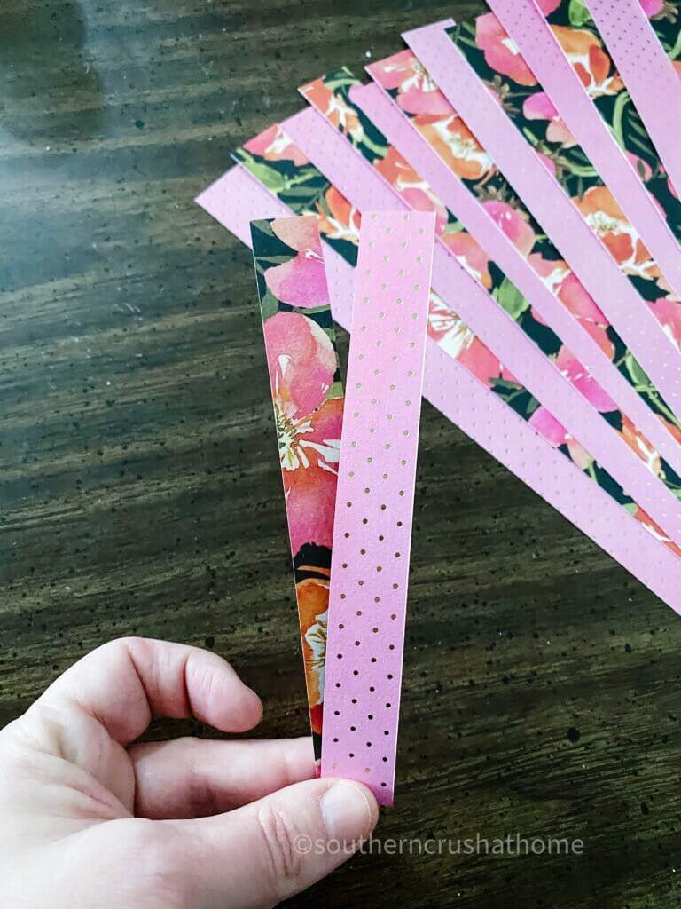 Paper hear strips folded