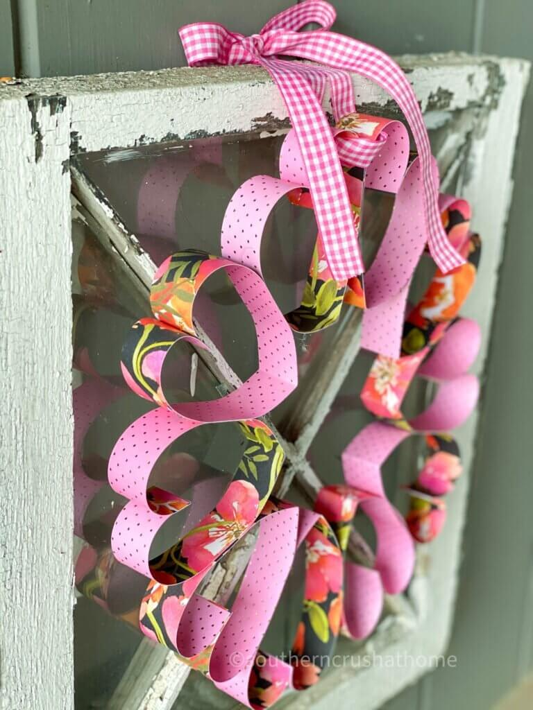 styled from the side angle paper heart wreath