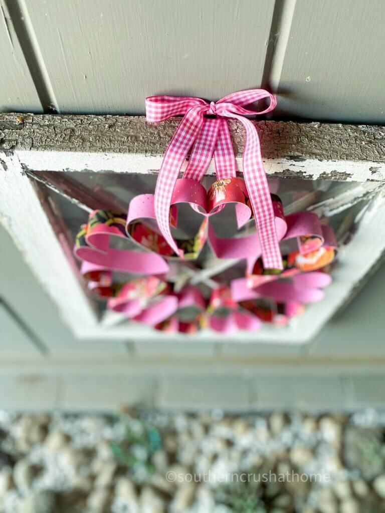 overhead paper heart wreath hanging