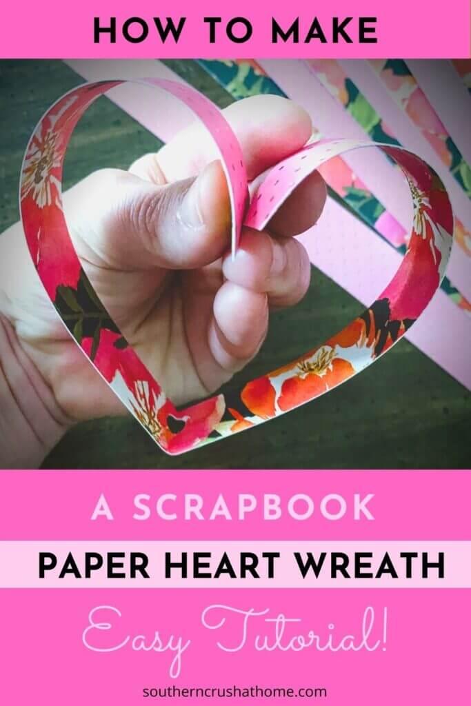 scrapbook paper heart wreath pin
