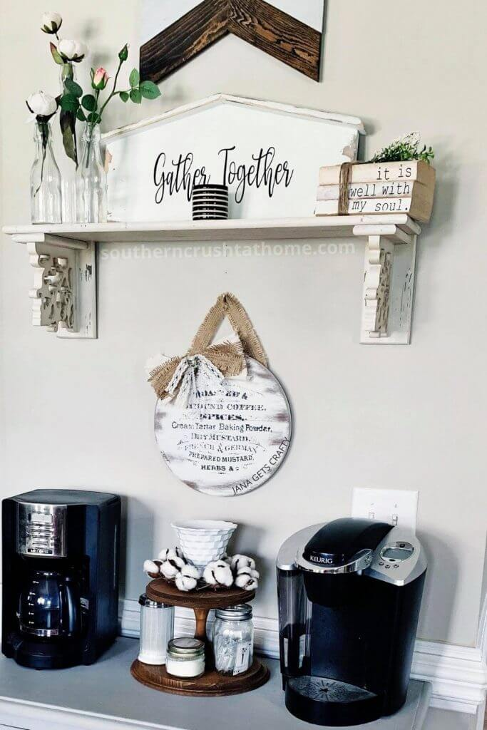 styled vintage coffee bar sign