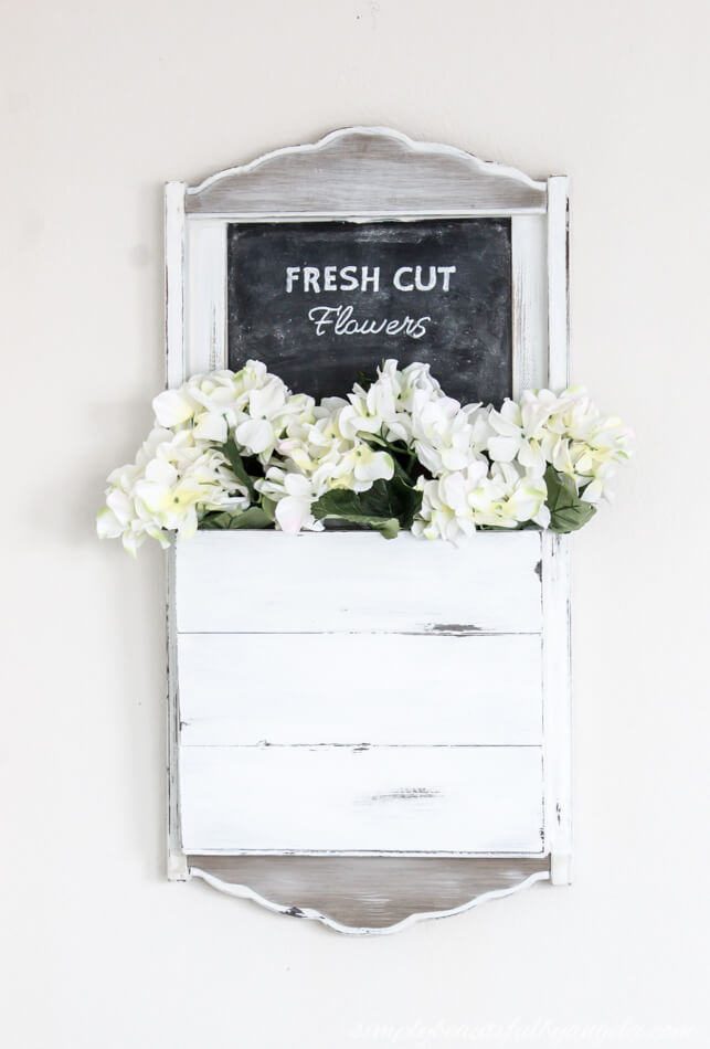 thrift store chalkboard makeover with flowers