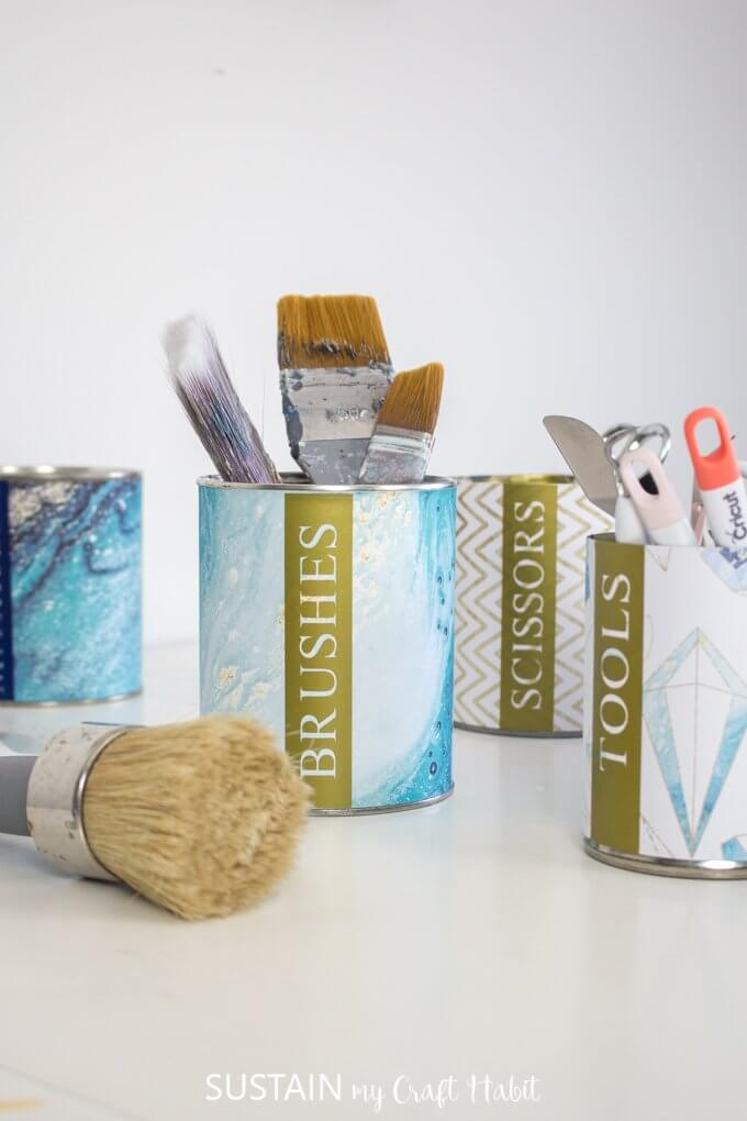 upcycled-tin-can-organizers-with-Cricut