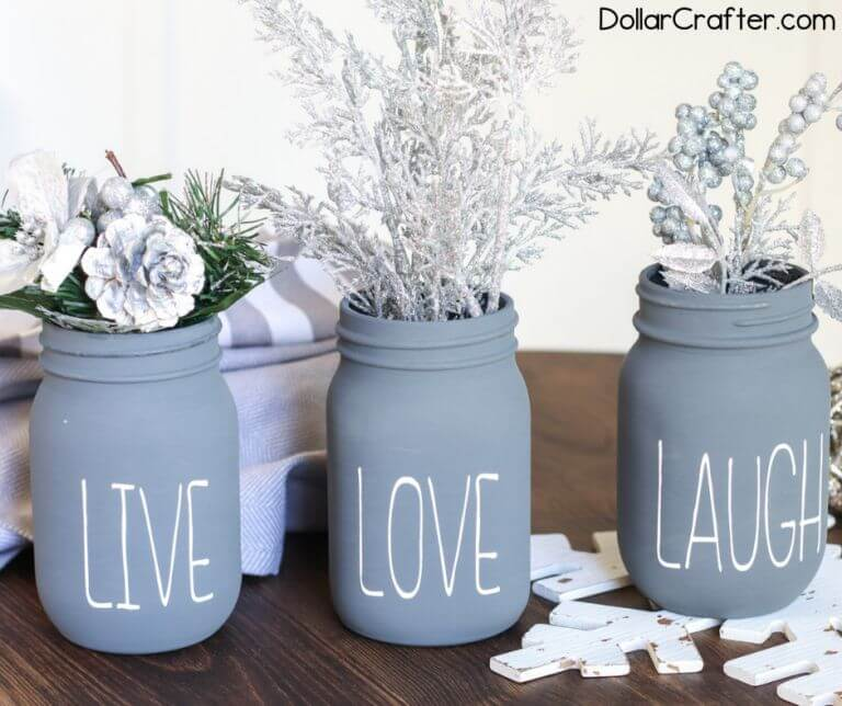 live love laugh mason jars with cricut