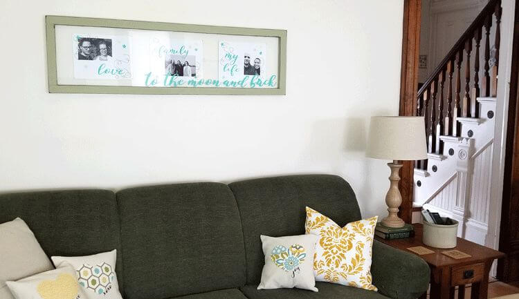 Upcycled window wall decor with cricut