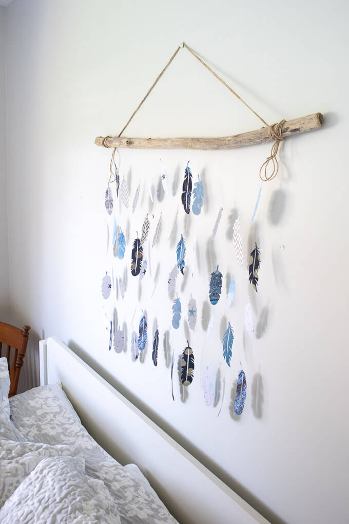 diy feather wall art with cricut