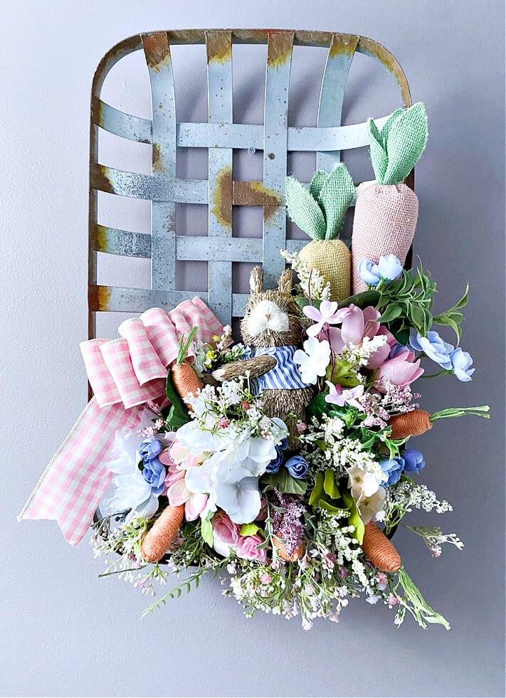 diy tobacco basket spring wreath