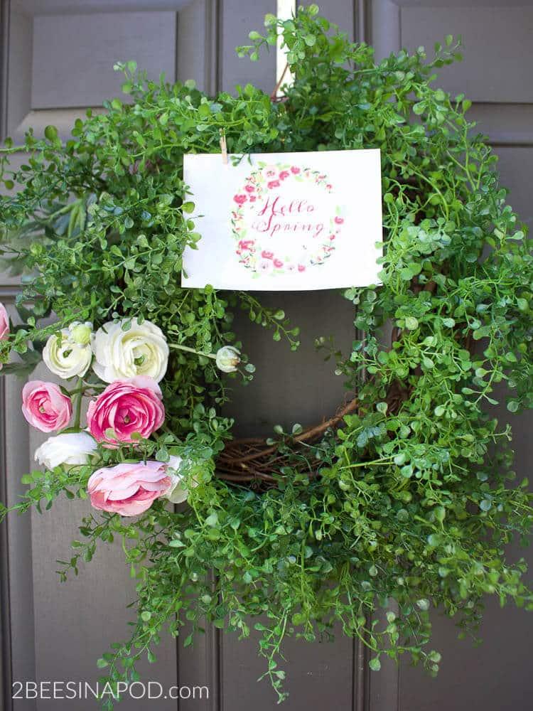 diy ranunculus spring wreath