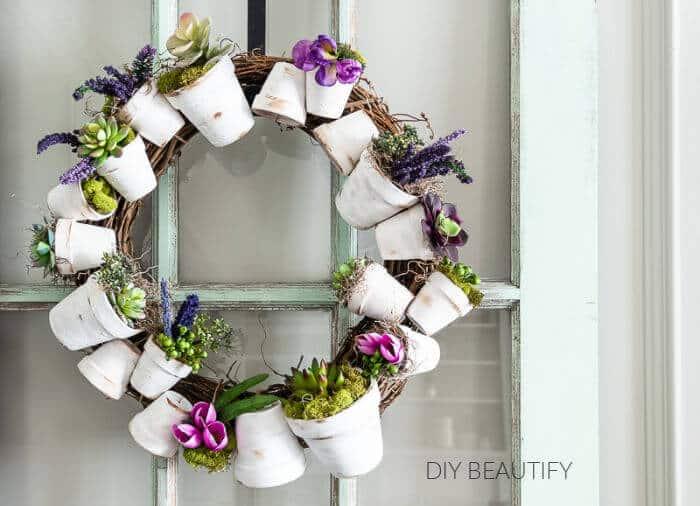 flower pot spring wreath diy