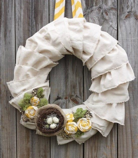 muslin fabric spring wreath diy