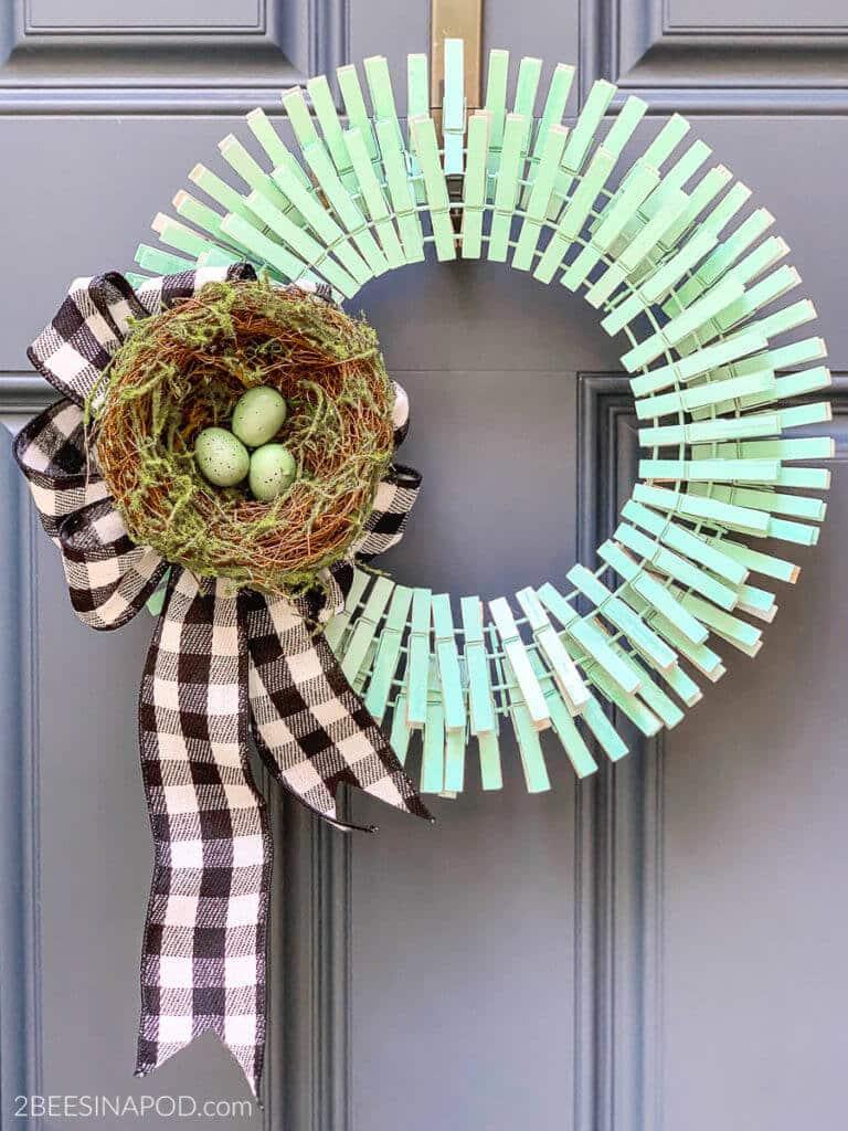 spring clothespin wreath