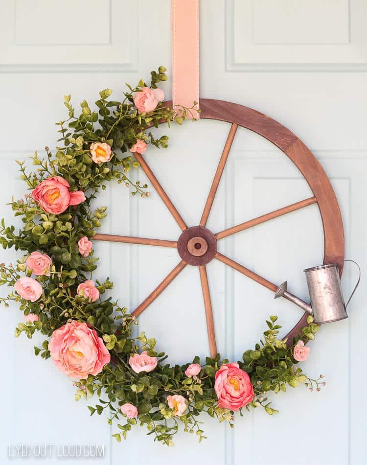 wagon wheel spring wreath diy
