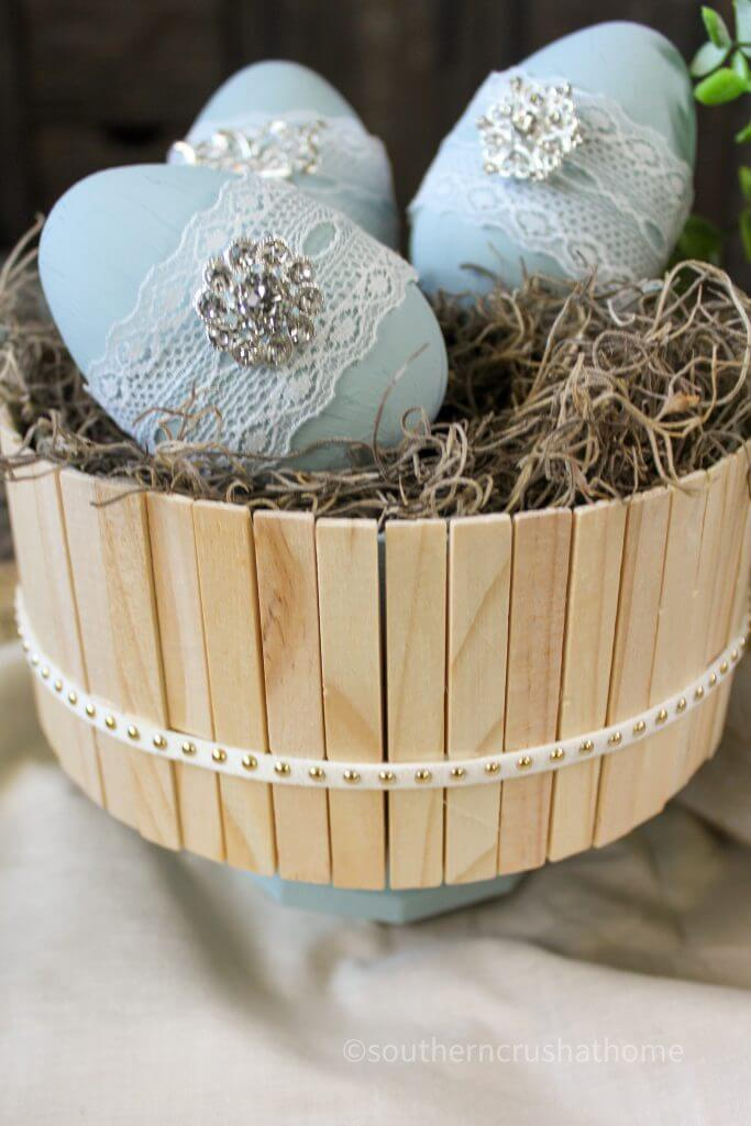 close up of clothespins on candy bowl