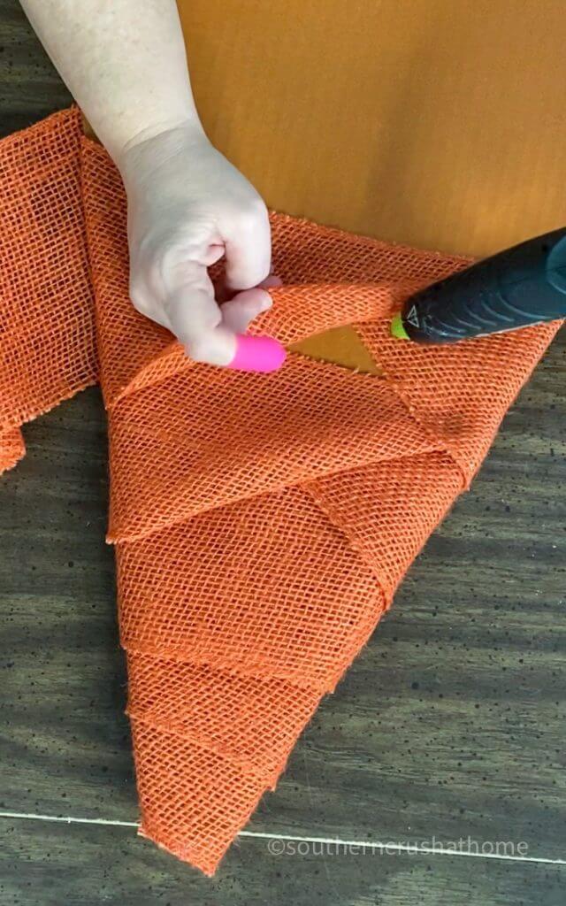 orange burlap on amazon box for gnome
