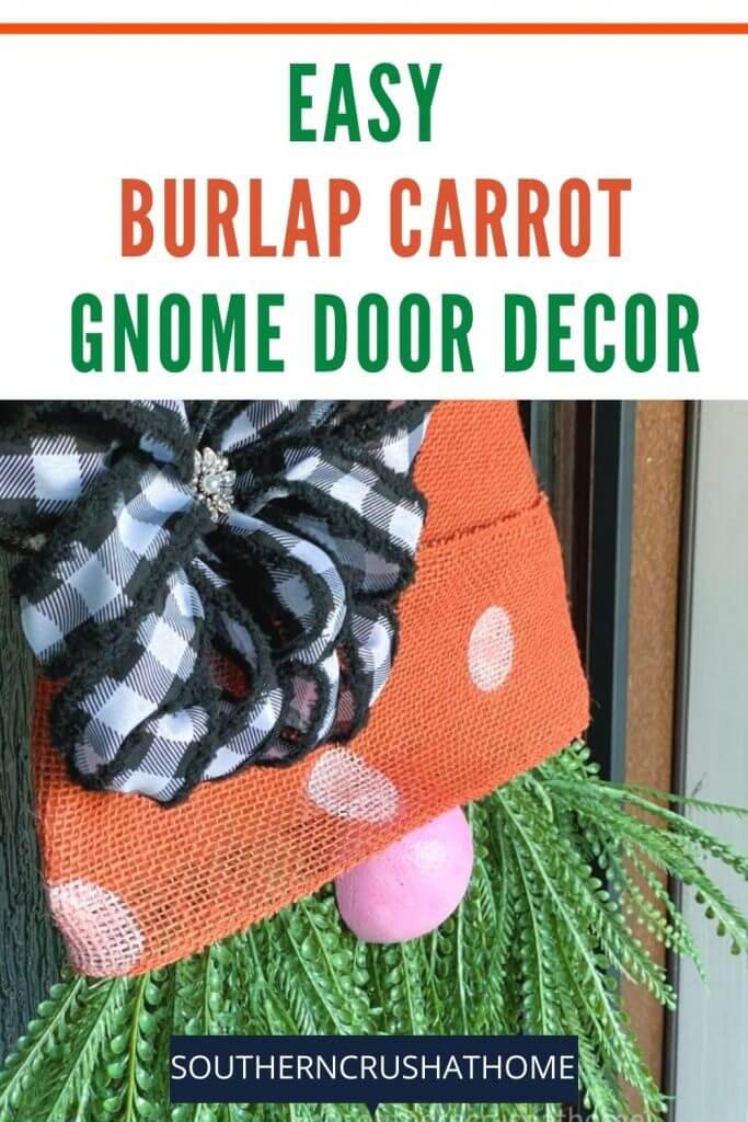 burlap carrot door hanger on door