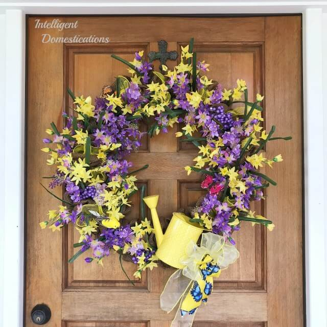 yellow and purple spring wreath