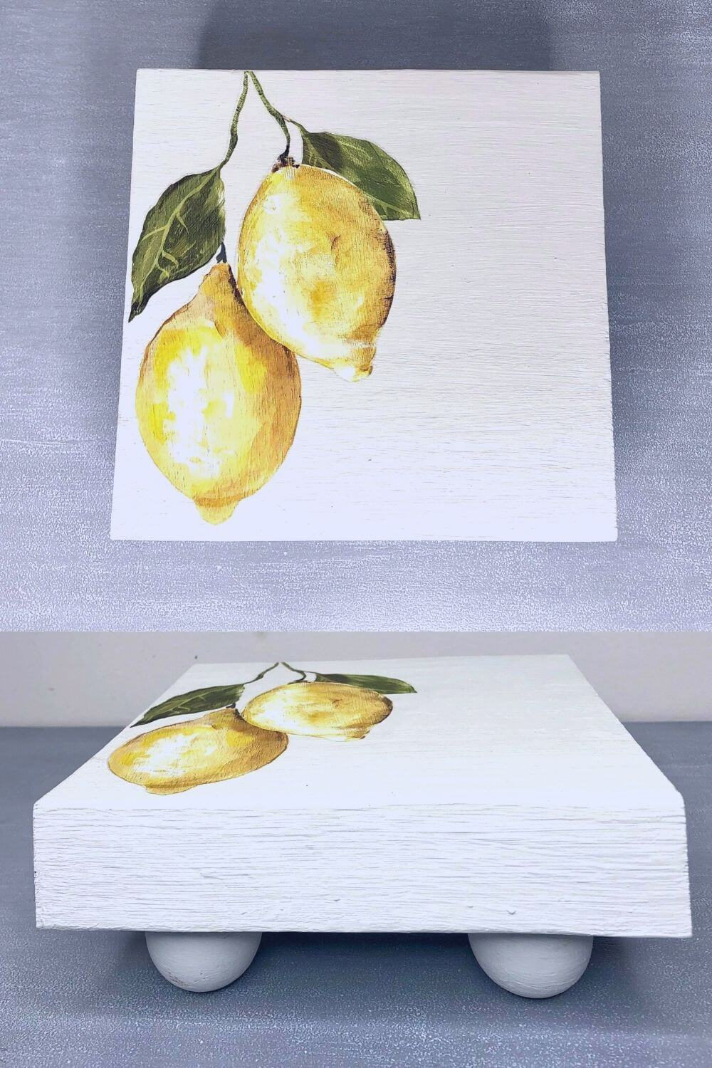 DIY Wooden Trivet painted white with lemons