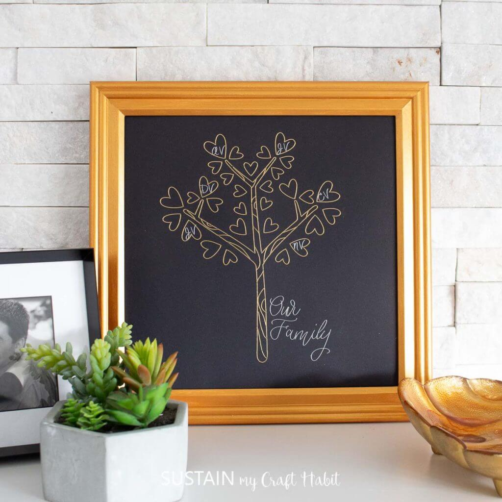 diy family tree craft with cricut foil