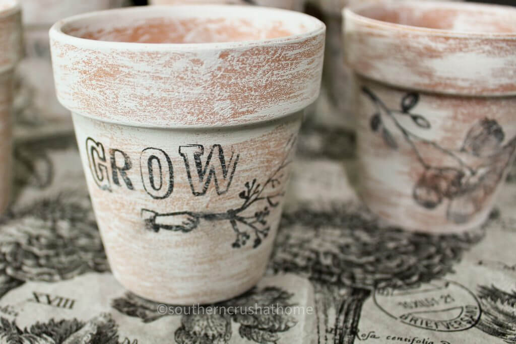 Grow stamped on dollar tree terra cotta pots