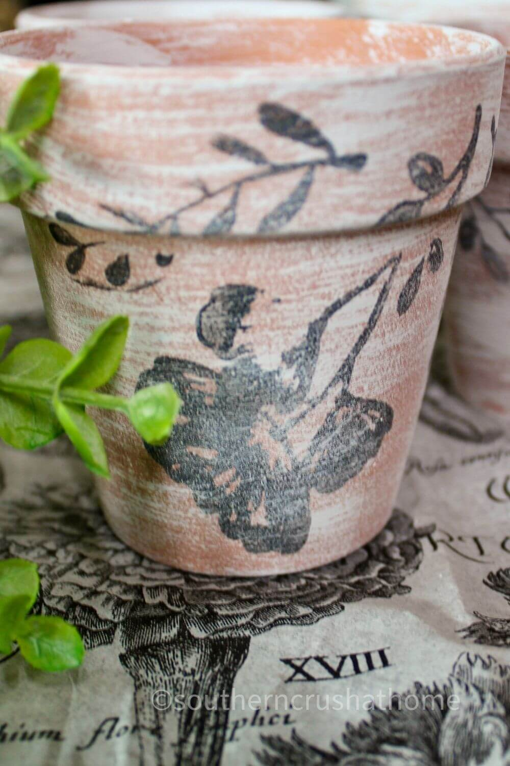 easy floral Dollar Tree Stamped Terra Cotta Pots