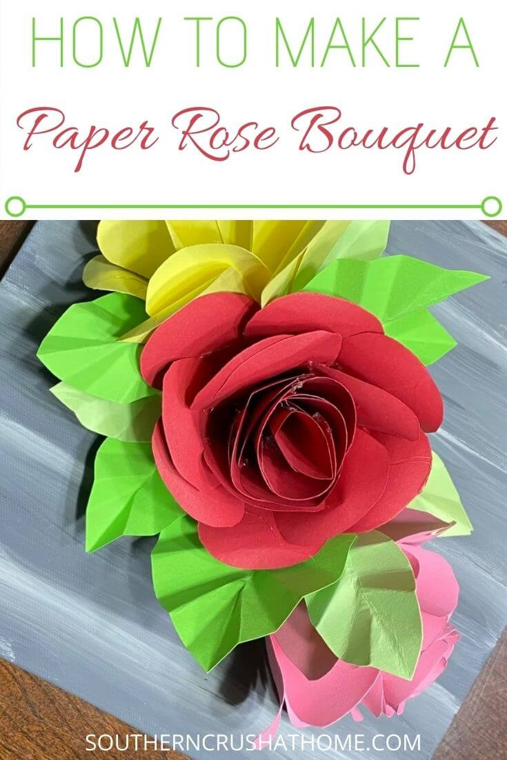 paper rose bouquet on canvas craft