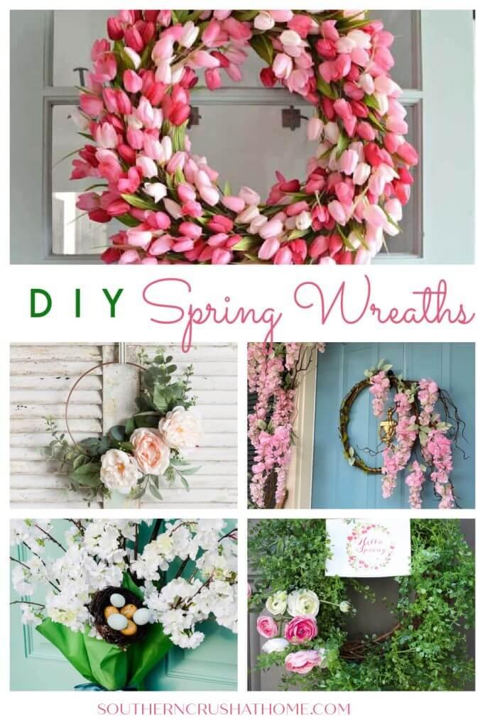 diy spring wreaths collage