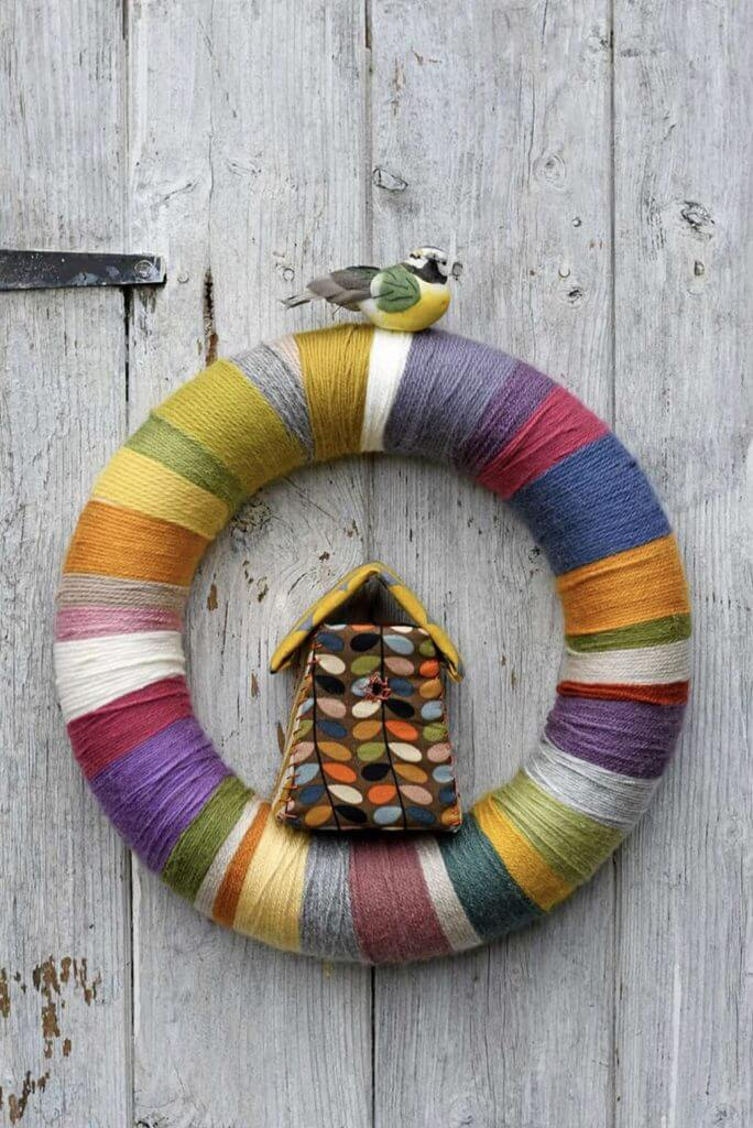 string wreath with birdhouse