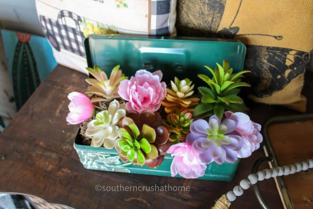 vintage floral toolbox display