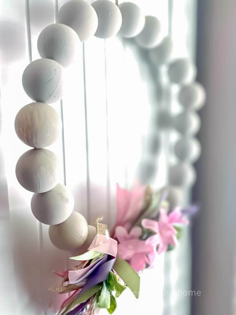 Side view of Dollar Tree Farmhouse Ping Pong Ball Wreath