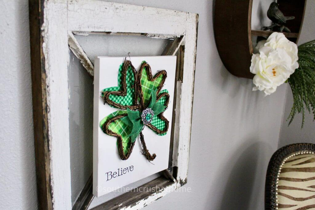 st patricks day shamrock canvas styled on gallery wall