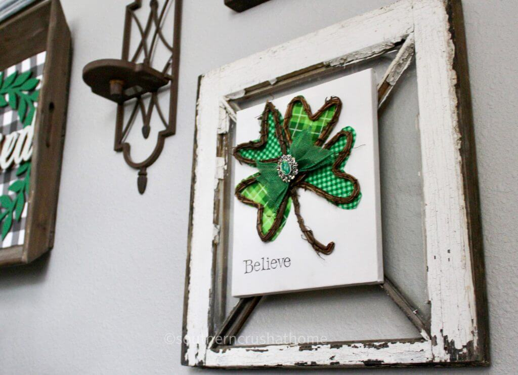 st patricks day shamrock canvas on gallery wall from angle
