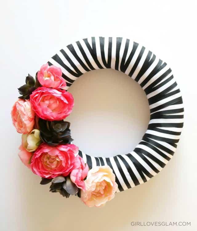 glam spring diy wreath black striped