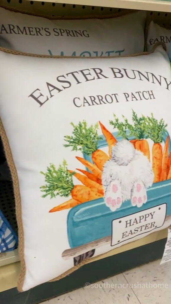 easter bunny pillow with carrots and blue truck