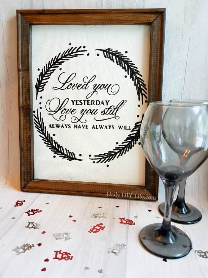 love you reverse canvas with cricut
