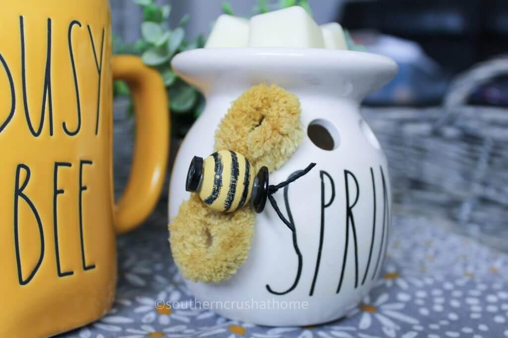 close up of final Rae Dunn inspired bumblebee diy