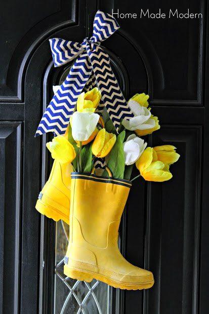 rain boot spring wreath