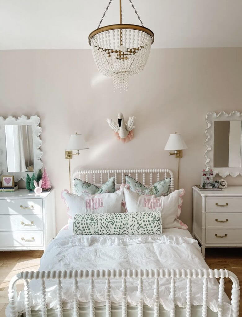 blush and white bedroom