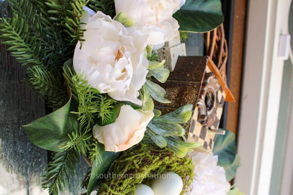 thrift store wreath makeover close up