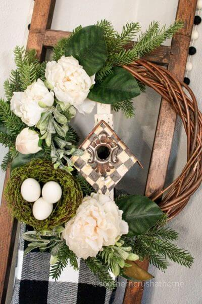 front of thrift store wreath makeover
