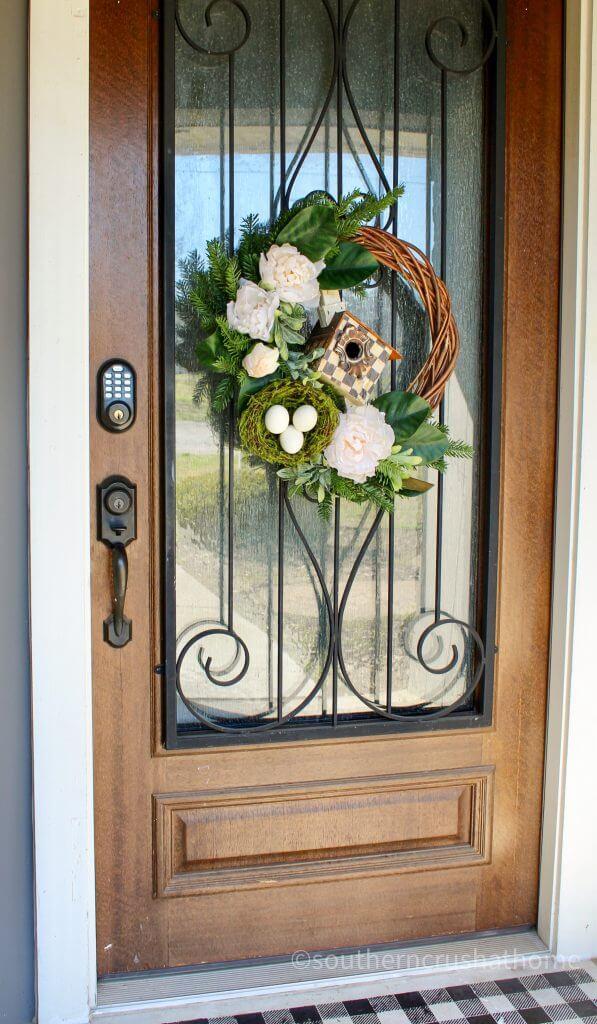thrift store wreath makeover front door view