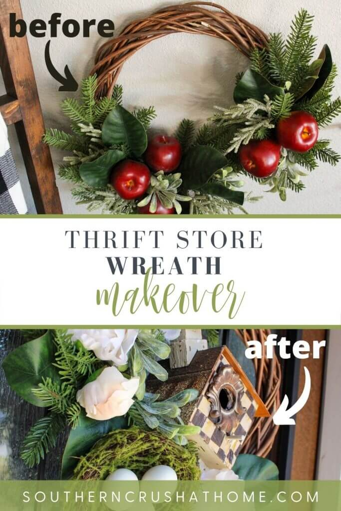 before and after thrift store wreath makeover pin