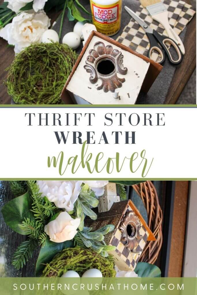 thrift store wreath makeover PIN