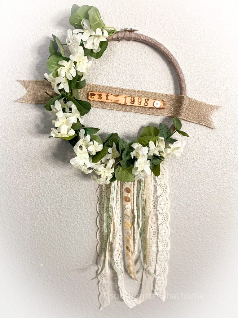 finished BOHO embroidery hoop wedding wreath hanging on wall