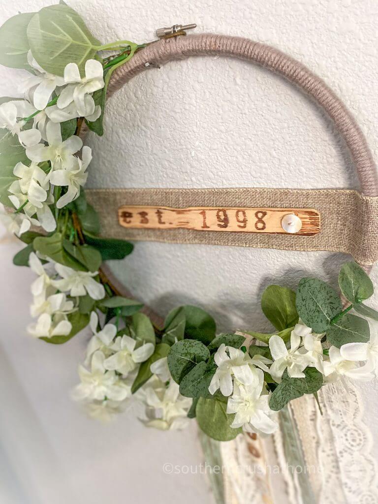 diy boho embroidery hoop wreath