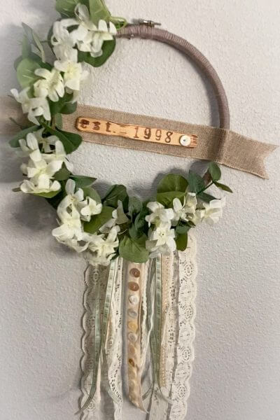 BOHO wedding hoop wreath hanging on wall